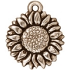 Charm Sunflower Antique Silver